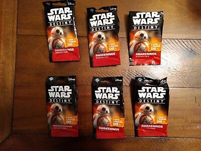 6 x Star Wars Destiny: Awakenings Booster Pack, New, factory sealed TCG CCG Lot.