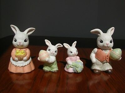 Homco figurines 4 piece EASTER BUNNY FAMILY #1484 Easter bunnies
