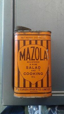 Mazola Salad and Cooking Oil The Canada Starch Co limited vintage tin can