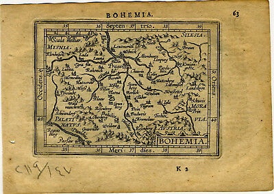 1609 Genuine Antique miniature map Czechoslavakia, Bohemia, Prague. A. Ortelius
