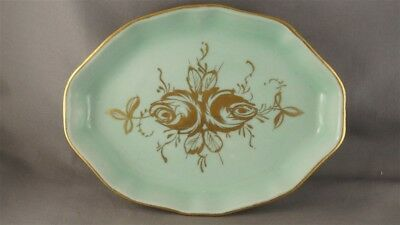 Limoges Green Hand Painted Gold Roses France Tray Made for Birks