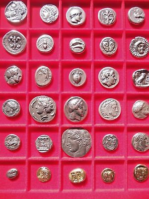 Lot Of 30 Greek Assorted Silver & Gold Plated Ancient Coins Educational Gifts