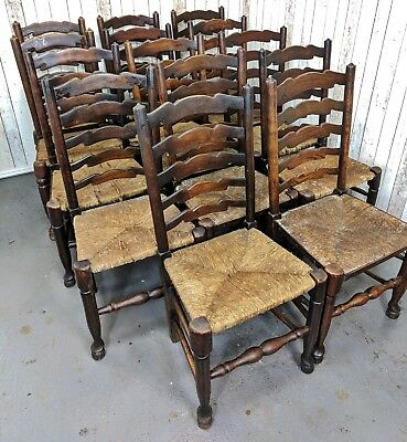 Antique Early 20th Century Set of 14 Harlequin Rush Seated Dining Chairs