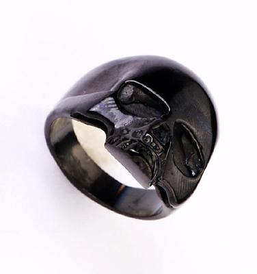 punk black skull half head  design 316l stainless steel motor ring big size 12