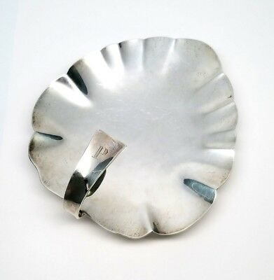 Allan Adler Sterling Silver Leaf Shaped Footed Plate, Monogram P, 6""