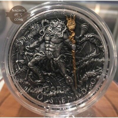 Poseidon Gods Niue 2018 2$ 2 Oz Silver Gold Plated High Relief Antique Finish