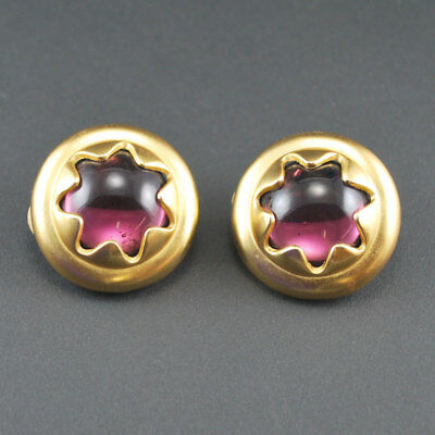 Vintage Purple Poured Glass Earrings Gold Tone Clip On, USED PRE OWNED