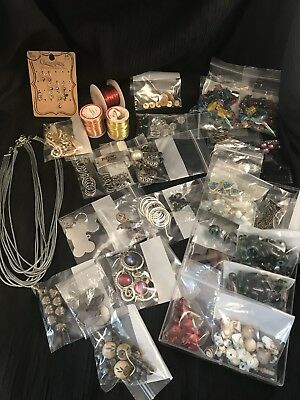 Large Assortment Lot of Mixed Jewelry Making Supplies Crafts Stones and Beads