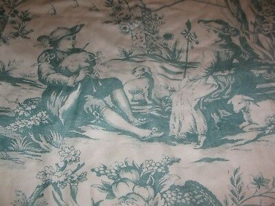 Vintage French Toile Pinch Pleated Drapes / Curtains Lined 2 Drapes 48 by 91