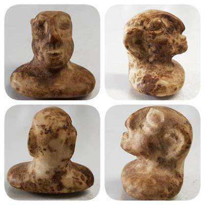 Ancient bactrian old rare stone face head Statue  # D