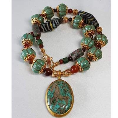 Beautiful Old melon turquoise stone beads & pendant Necklace  # D
