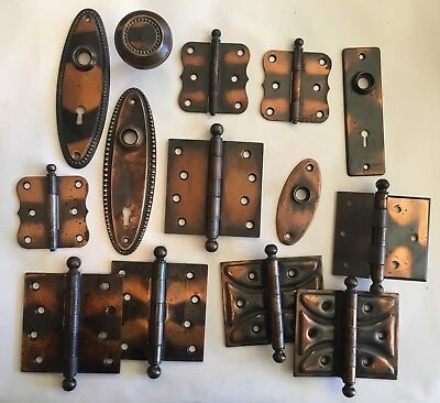 Lot of 14 Pieces of Vintage Flashed Copper Door Hardware