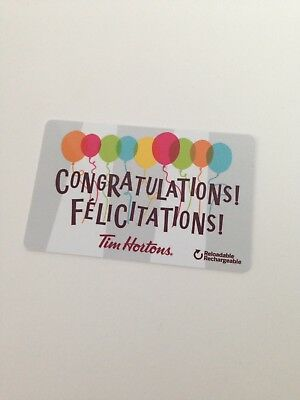TIM HORTONS Gift Card ZERO $ Balance CONGRATULATIONS, No Value