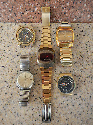 Vintage Mens Watch Lot of 5 - Hamilton Quartz Seiko Bulova Marine Star Timex 21
