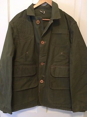 Vintage 1950's Army Green JC Higgins Green Duck Canvas Hunting Jacket Size 46