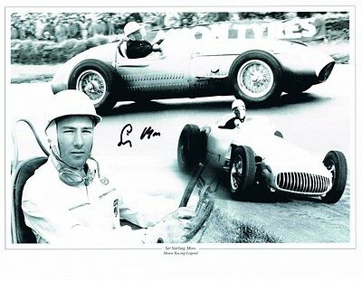 Signed Stirling Moss Photo Montage Formula 1 Autograph