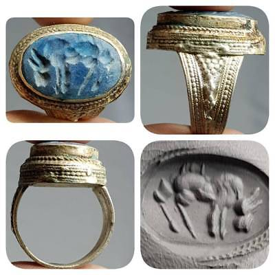 Horse intaglio Ancient Lapis Stone Lovely Ring     # D