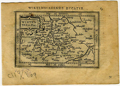 1609 Genuine Antique miniature map of Germany, Stuttgart. by A. Ortelius