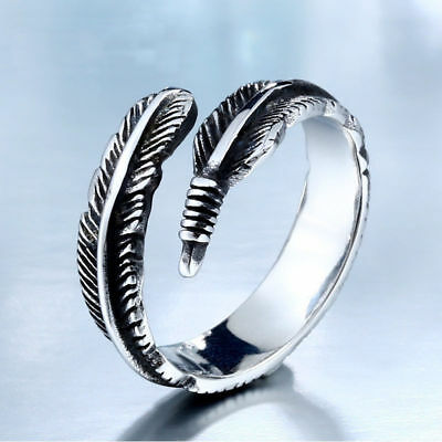 Retro Antique Silver Adjustable Feather Rings Women's Open Plume Ring + Gift Bag