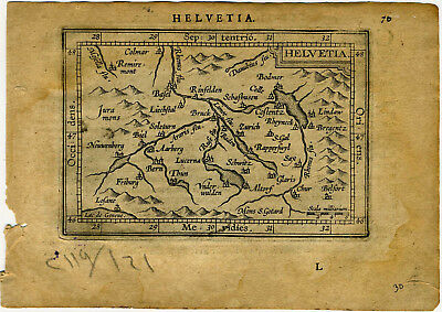 1609 Genuine Antique miniature map Switzerland, Zurich, Helvetia. A. Ortelius