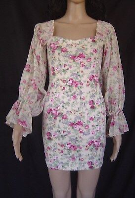 Vintage Frederick's of Hollywood Pink Floral Roses Romantic Dress Sexy Mini S