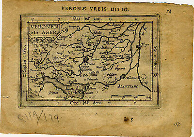 1609 Genuine Antique miniature map of Italy, Verona. by A. Ortelius