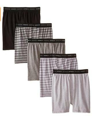 Hanes Boys 5 Pack Comfort Flex Knit Boxers Black/Gray Stripes Size Large New!