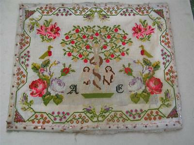 19th century Adam and Eve woolwork sampler - 18.5 x 15 inches.