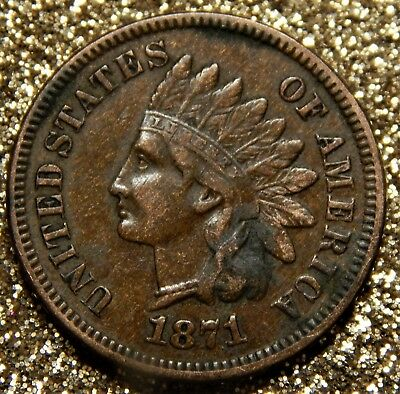 USA One Cent 1871-R! , Indian Head