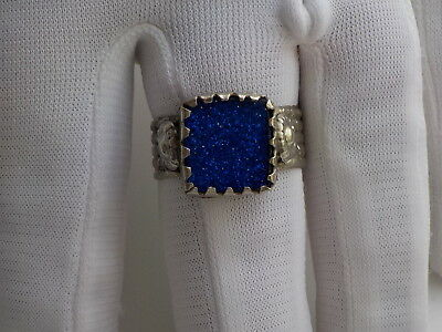 Tudor style  blue glass stoned ring  .metal detecting find.