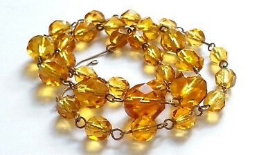 Czech Vintage Art Deco Graduated Yellow Faceted Glass Bead Wired Necklace