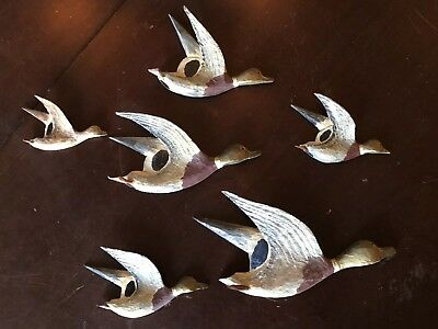Mallard Ducks flight 6 Wooden Carved Antique  Wall Hanging collectible 1930s