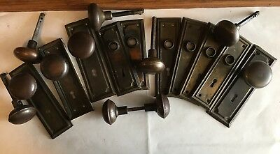 Lot of Antique Steel Door Backplates and Knobs (21 pieces)