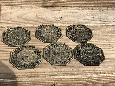 6 Vintage Ornate Metal Back Plate For Drawer Cabinet Knob Pulls Gold Bronze