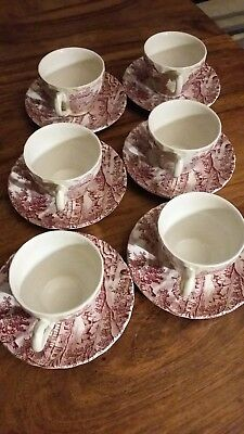 Authentic Vintage Myott The Hunter 6 piece cup & saucer set