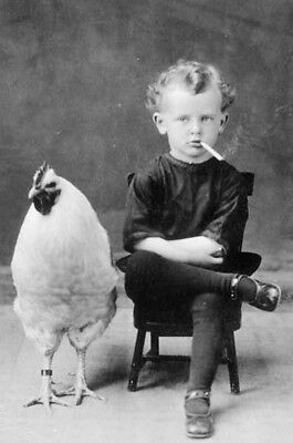 Unusual, Early 1900's/CHICKEN WITH YOUNG CHILD SMOKING /4X6 B&W Photo Reprint