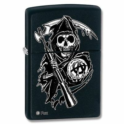 "Zippo ""Sons of Anarchy-Reaper"" Lighter, Black Matte, ***Flints & Wick***   28504"