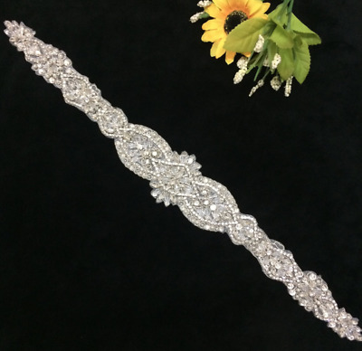 TRLYC Crystal Pearl Rhinestone Wedding Belt Bridal Accessories Ivory White Sash