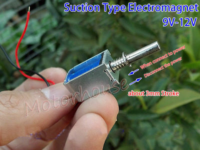 9V-12V DC Suction Micro Electromagnet Spring Push Pull Rod Solenoid Magnets L30