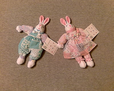 NEW! DARLING BUNNY PAIR! 1 BOY & 1 GIRL CLOTH RABBITS in PATCHWORK-LOOK CLOTHES!