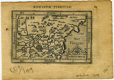1609 Genuine Antique miniature map Italy, Rome, Tyrrhenian Sea. by A. Ortelius