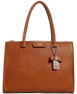GUESS RYANN SOCIETY Cognac Leather Satchel Bag Msrp $118.00
