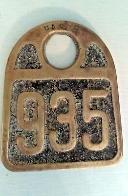 "Hasco Vintage Brass Cattle Tag ""935"" Newport Kentucky"