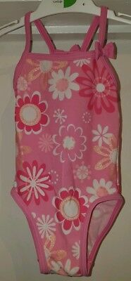 NEXT Baby Girls Pink Glittery Floral Swimming Costume! 6-9 Months!