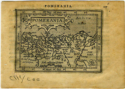 1609 Genuine Antique miniature map Germany, Poland, Baltic Sea. by A. Ortelius