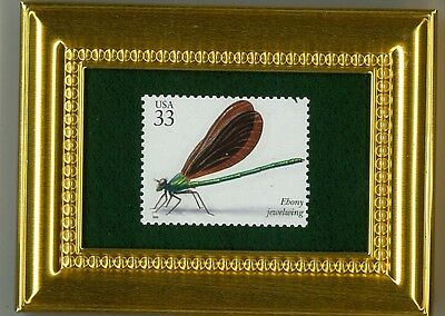 Ebony Jewelwing -  A Glass Framed Collectible Postage Stamp Masterpiece