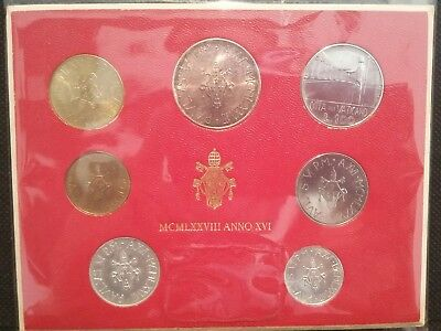 VATICAN CITY Official Coin Set. Uncirculated with silver coin.1978