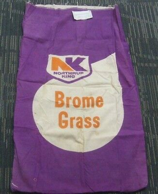 Seed company sack Northrup King Brome Grass Cloth Burlap Bag Vintage with label