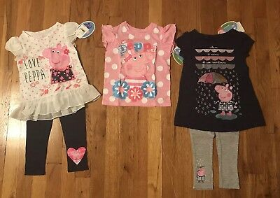 peppa pig toddler girls clothing size 2t t-shirt and 2 legging and t shirt sets