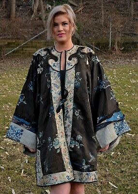 Antique Chinese blue black silk damask robe embroidered sleeves & trim 18th 19th